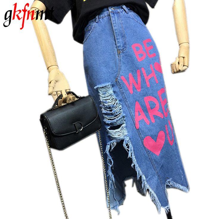 ==> [Free Shipping] Buy Best gkfnmt 2017 Denim Skirt Women High Waist Casual Vintage Hole Slits Skirt Letter Print Long Denim Jean Fashion Knee Length Skirt Online with LOWEST Price   32812989452