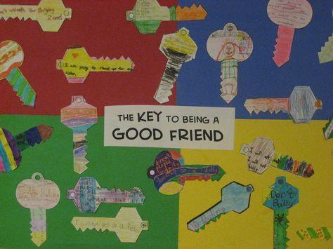 """The Key to Being a Good Friend""  Great elementary lesson + bulletin board idea = killing 2 birds with 1 stone  www.elementarysch..."