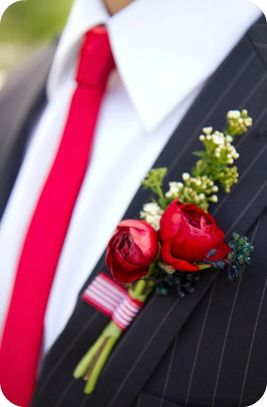 Red and Navy Groom Suit - Kate Osborne Photography