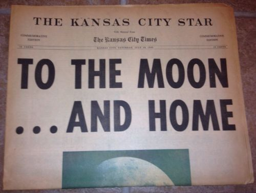 JULY 26, 1969 TO THE MOON & HOME APOLLO 11 KANSAS CITY STAR TIMES NEWSPAPER KC