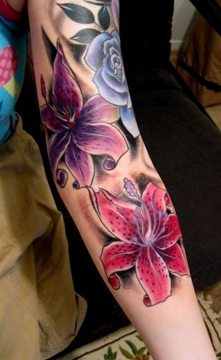 Pretty colors-I have FINALLY found it! this is going to be my half sleeve! going to do each flower the color of my kids birthstones. and an orange one for Dale because....well its Dale!