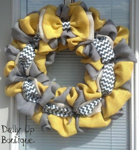 Burlap Wreath -Cream, Yellow and Gray Chevron Home Decor Front Door Wreath Spring Wreath - Everyday Wreath - Mother's Day Wreath - Summer on Etsy, $37.00