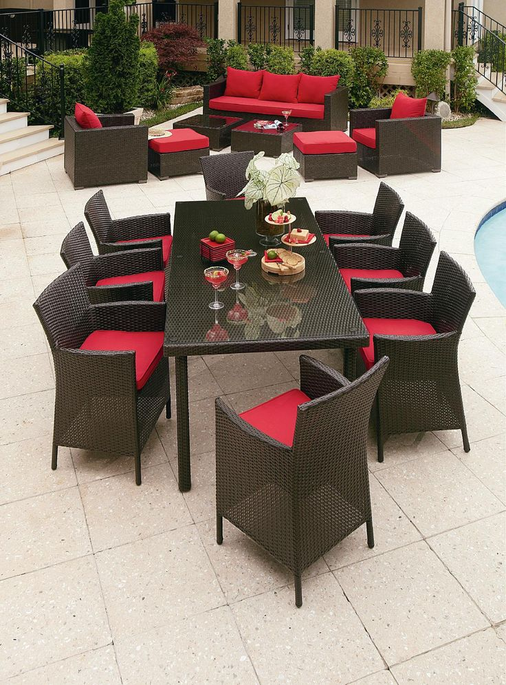 Grand Resort Osborn 9 Piece Rectangular Dining Set Featuring Sunbrella Fabric Outdoor Living Patio Furniture