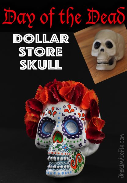 Day of the dead (Dio de los muetros) sugar skull made from a Dollar store plastic skull, craft paint and stiffened fabric flowers