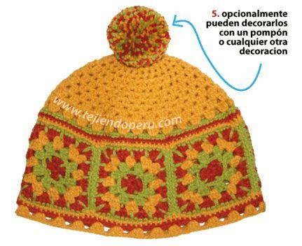 Gorro con pastillas cuadradas tejido a crochet