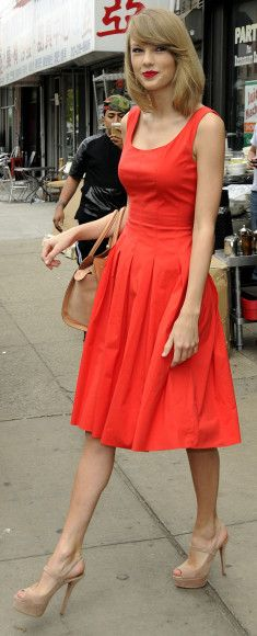 Taylor Swift's Red pleated dress and nude sandals