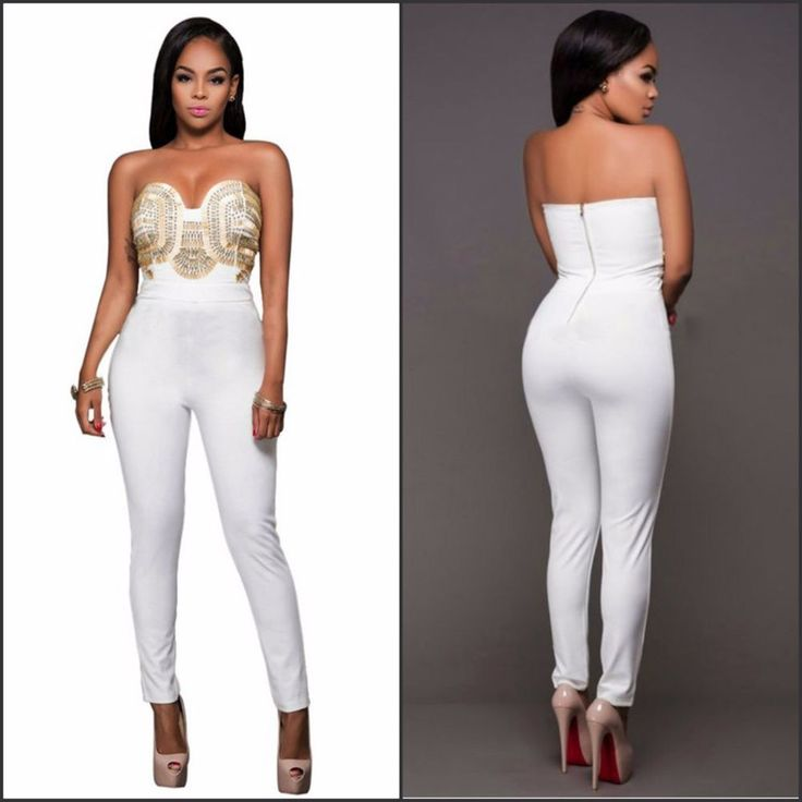 New Women's White Strapless Ankle Bodycon Jumpsuit Gold Detailing Zip Up Sz S-XL
