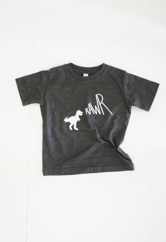 RAWR / vintage graphic tee / baby toddler kid / hipster / screen printed tshirt onesie / dino / charcoal