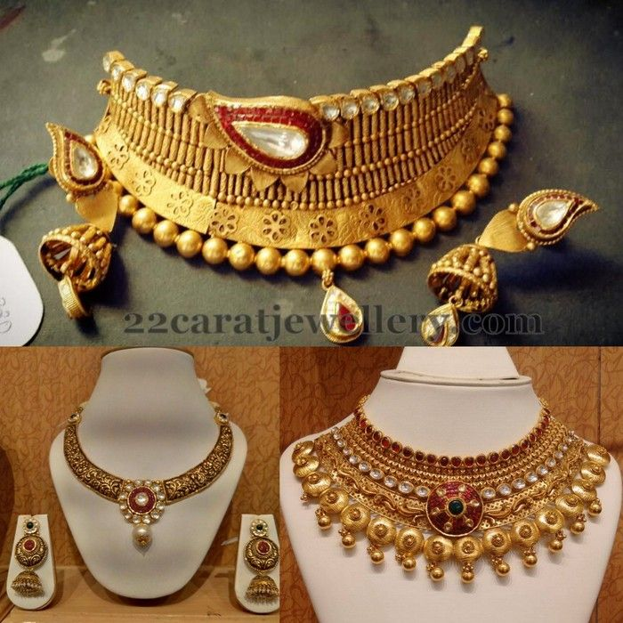 Heavy Chokers with Jhumkas | Jewellery Designs