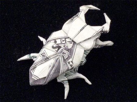 Origami Beatle from one dollar bill