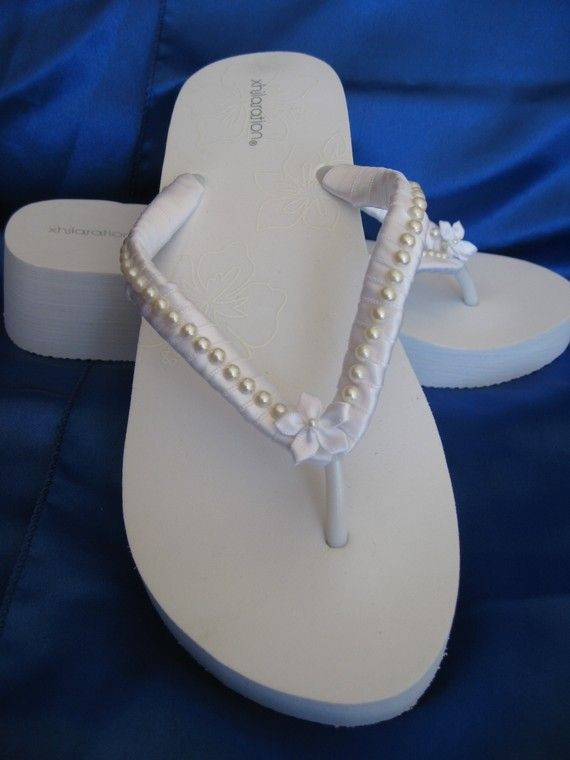 Bridal Flip Flops Pearl Design White Wedge Flip by ABiddaBling, $32.99