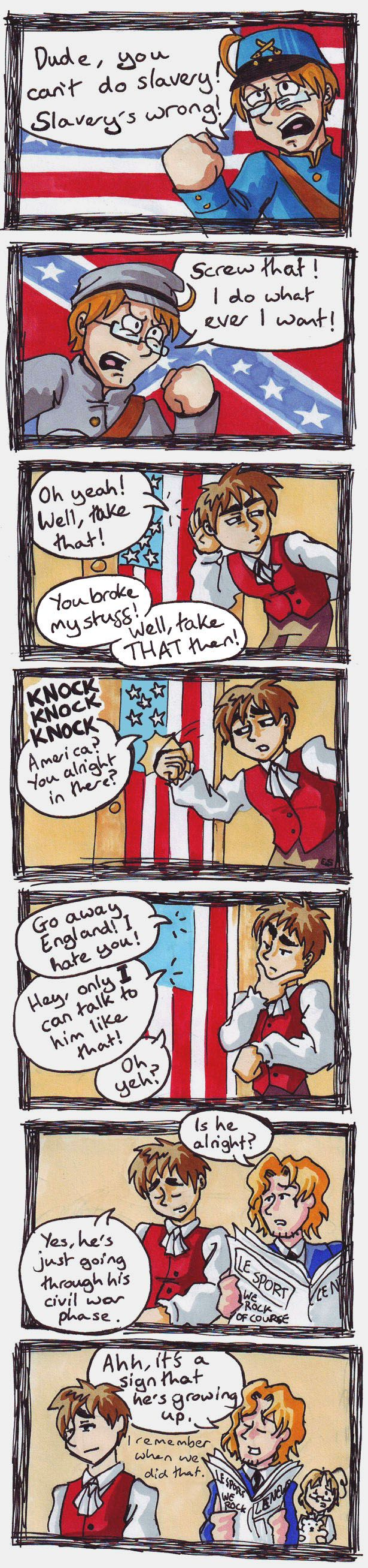 Hetalia - Civil Warfare by Raax-theIceWarrior.deviantart.com on @deviantART Lol, Canada could have a civil war if he really wanted to.