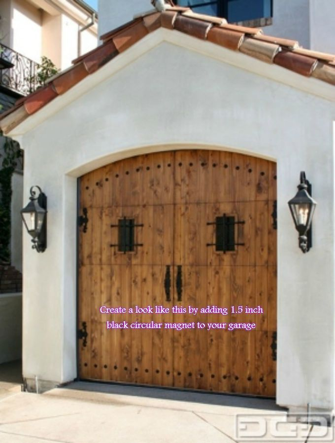 Magnetic Garage Door Decorative Hardware Kit Hinges Black Circles Carriage House | eBay