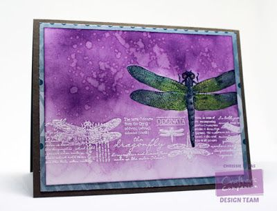 Chrissie Tobas of Harvest Moon Papiere for Crafter's Companion: Let's Mask! Stamp It: Dragonfly Delights, Spectrum Aquas (Kingfisher and Bud Green), Destinations CD Rom @CraftersCompUS @spectrumnoir #tutorial #craftins #cardmaking