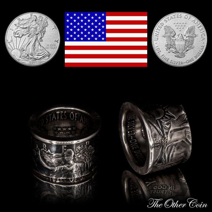 Münzring American Silver Eagle 2017 - USA   1 oz Silbermünze .999 Feinsilber Ein richtig massiver Männerring!!!! Für nur 69,00 €  Coinring American Silver Eagle 2017 - USA   1 oz silver coin .999 fine silver A really massive men's ring !!!!  For only 69,00 €  Material - Материал: 999er Silber-silver  Weight - Gewicht - Вес: Ca. 29g Ring Size - Ring Größe - Размер кольца: DE 60   19.1 mm   US 9,1 to DE 70   22.3 mm   US 13 Height - Höhe - высота: 17mm
