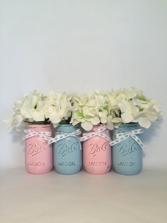 Gender Reveal Mason Jars Gender Reveal Decor by RebekahCreations