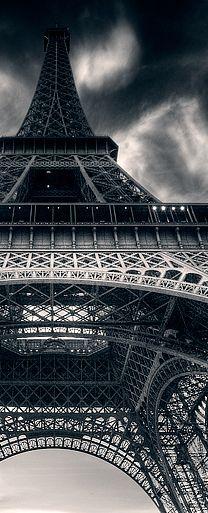 Eiffel Tower stormy skies
