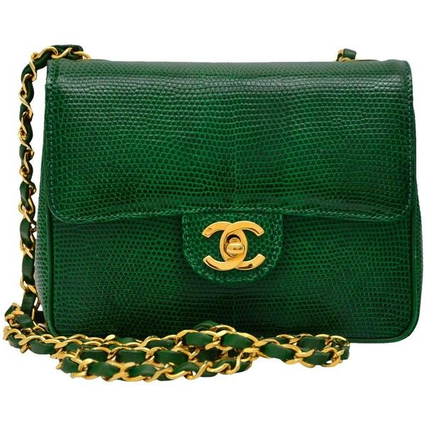 CHANEL Rare Vintage Emerald Green Lizard Mini Handbag Excellent found on Polyvore featuring bags, handbags, mini hand bags, green handbags, man bag, lizard handbag and emerald green purse