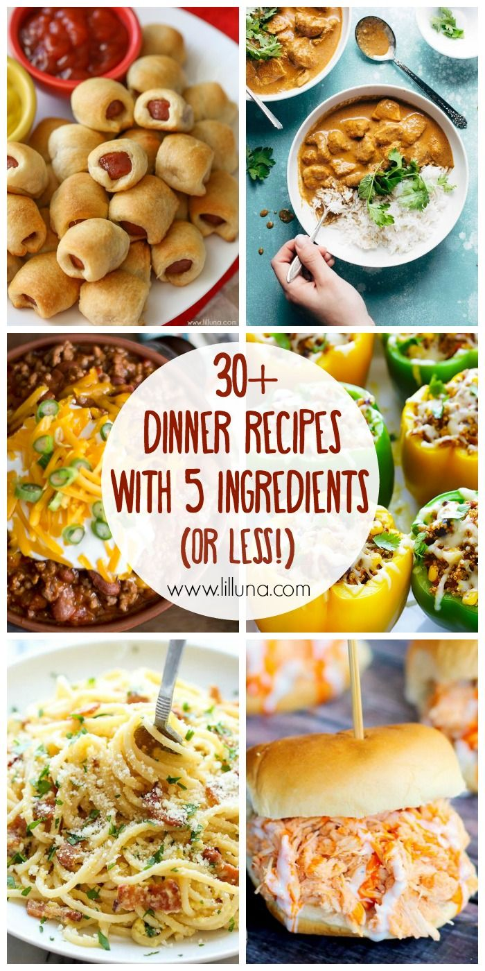 30+ dinner recipes that ALL consist of 5 ingredients OR LESS!! They might be simple recipes, but they're still DELICIOUS! { lilluna.com }