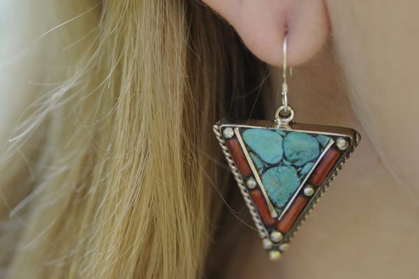 Handmade bohemian turquoise and coral earrings $19.95 USD   #tribalearrings #gypsyjewelry #hippiejewelry #bohoearrings