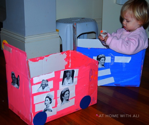 Using an old box and turning into a Princess Bus - hours of fun!!!