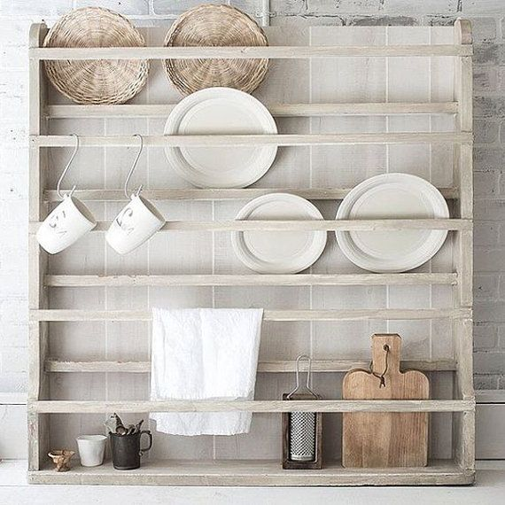 plate rack plate holder wall mounted plate by foofoolalachild - Wall Mounted Kitchen Shelf