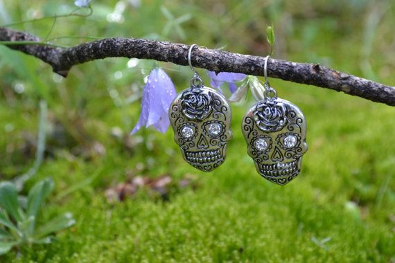 SOLD OUT $12.00 Dainty Day of the Dead Sugar Skull Earrings, Antique Silver, Rose Flower, Clear Rhinestone Eyes, Pierced Trendy Fashion Jewelry