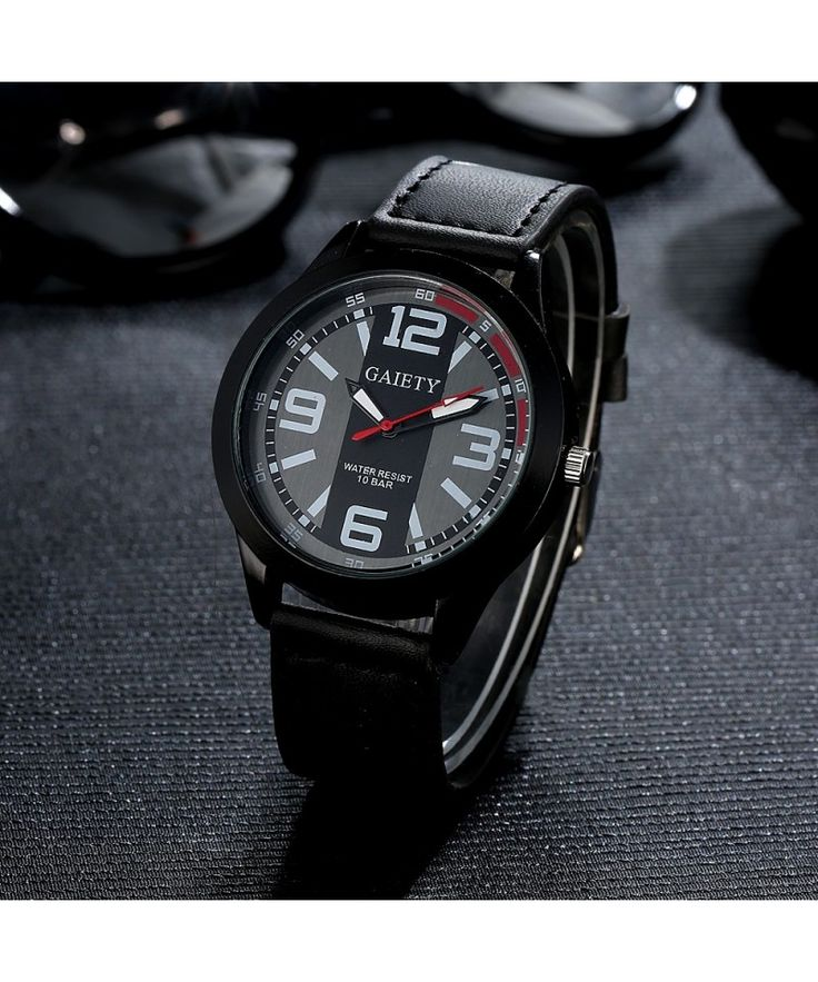 Gaiety mens easy read big face leather strap wrist watch