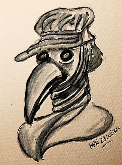 Masks04: The Plague Doctor's Mask by mpn ink on heavy watercolour paper from wikipedia: The plague doctor's costume was the clothing worn by a plague doctorto protect him from airborne diseases. T...