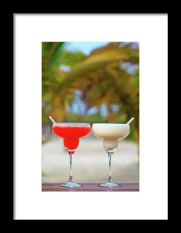 Beach Framed Print - Classic And Strawberry Margarita Cocktails On Tropical Beach by Nadya&Eugene Photography #NadyaEugene #Cocktails