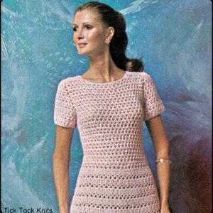 """No.227 PDF-Vintage gehaakt patroon vrouwen Lacey thee jurk - Instant Download - Retro gehaakt patroon - Bust maten 35 inch, 37.5-inch, 41"""""""