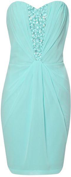Jane Norman Embellished Drape Bandeau Dress