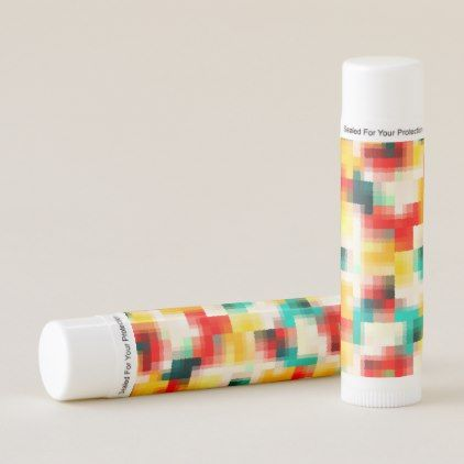 Red Blue Green Yellow White Abstract Pattern Lip Balm - stylish gifts unique cool diy customize