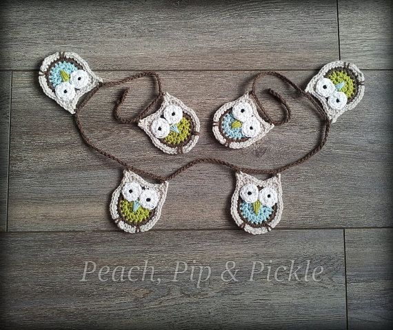 Crochet Owl Baby Bunting Pattern : Crochet owl bunting/garland by PeachPipPickle on Etsy, ?19 ...