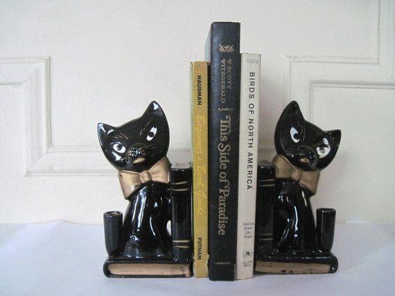le black cat  vintage 1960s ceramic bookends pen holder door cammoo