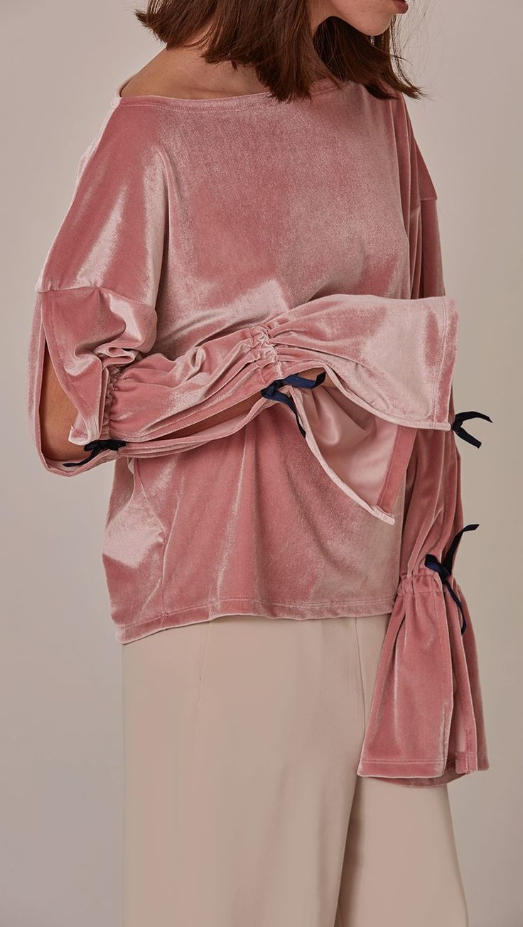 """this l""""Oeil velvet Ludlow Top is ticking so many fashion boxes: velvet, dainty pink and extravagant sleeves"""