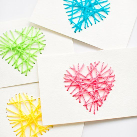 Make these easy and pretty string heart yarn cards for Valentine's Day. A great threading activity for kids, too!