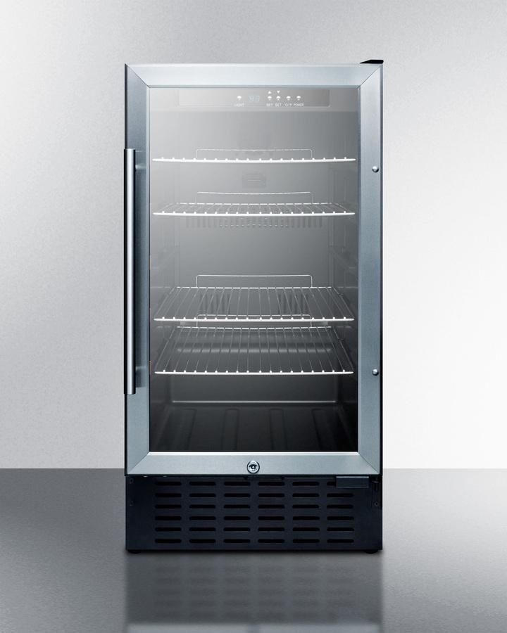 """18"""" wide glass door, built-in beverage cooler SCR1841B"""