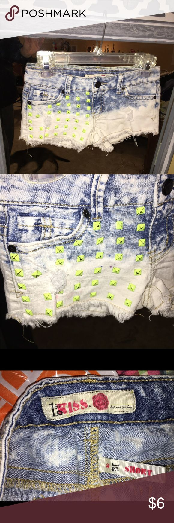Ladies Denim retro cutoff shorts size 3. Ladies denim shorts in size 3. Cut off's ripped and distressed and 80s retro stoned. Shorts Jean Shorts