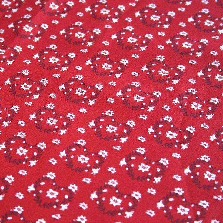 """Coton """"Savoie"""" rouge à coeurs en fleurs"""