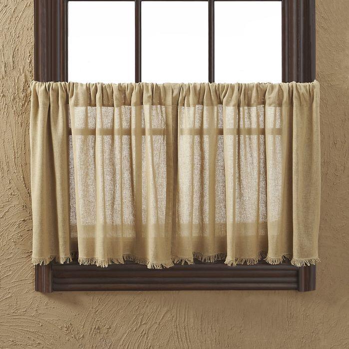 Tobacco Cloth Khaki Fringed Tier Curtain