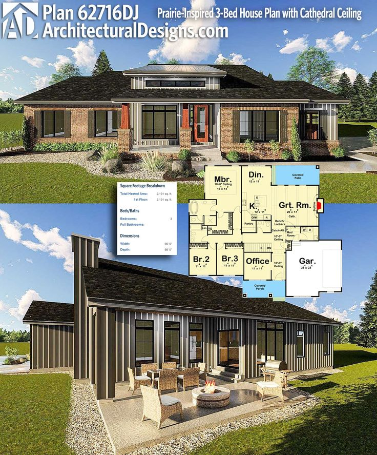 Plan 62716DJ Prairie Inspired 3 Bed House Plan with