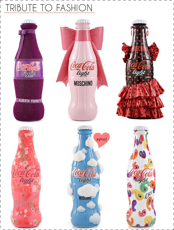 Grandes estilistas italianos como Moschino, Donatella Versace, Angela Missoni, Alberto Ferreti, Consuelo Castiglioni e Etro customizaram garrafas de Coca-Cola Light para um super projeto de caridade – Tribute to Fashion.