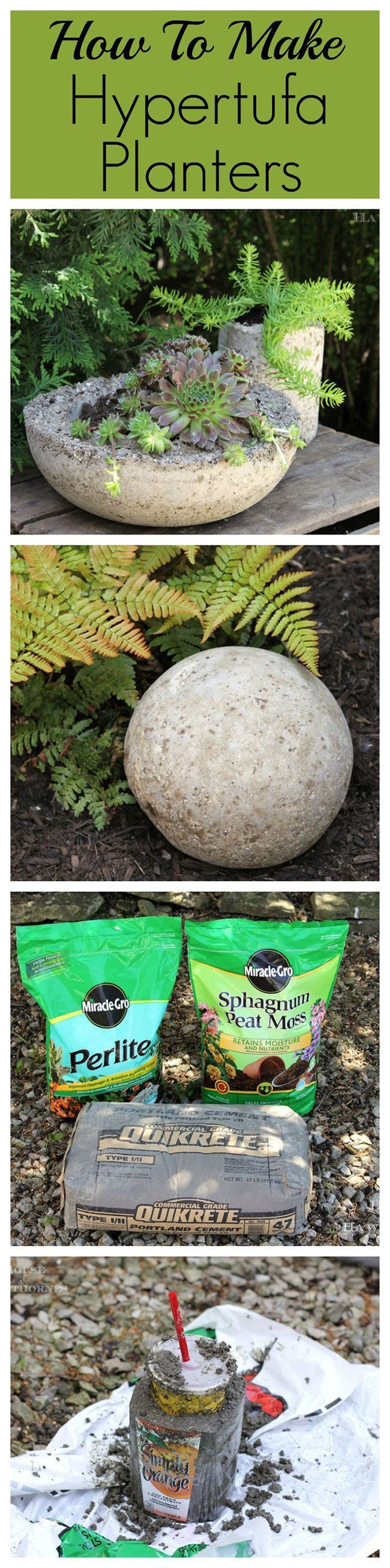 How to make lightweight hypertufa planters for your garden and patio. They look…