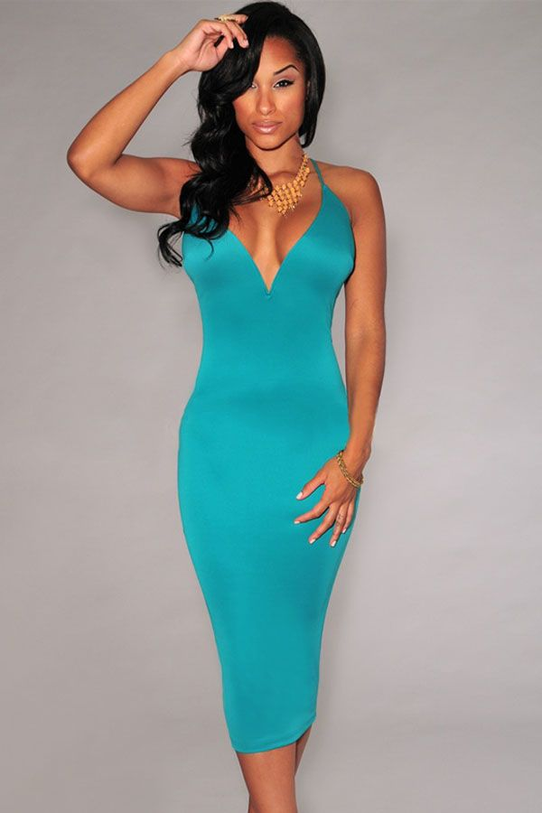 Cyan-blue Plunging V Neck Halter Lace-Up Midi Dress