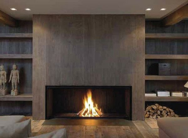 la d co avec une chemin e contemporaine id es maison et jardin home fireplace basement. Black Bedroom Furniture Sets. Home Design Ideas