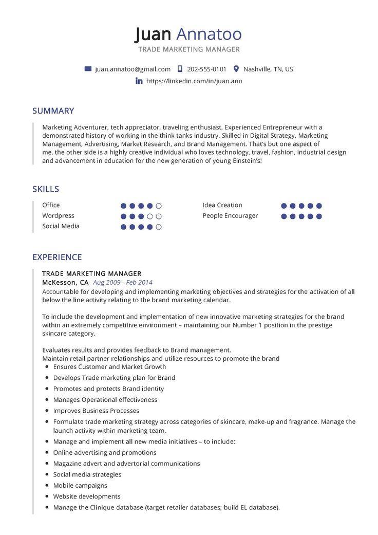 Trade Marketing Manager Sample Resume in 2020 Marketing