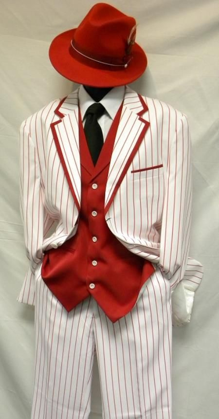 SKU#PN-W5 Bold Chalk Gangster Milano Moda White with Red Stripe ~ Pinstripe Vested Zoot Suit Costume