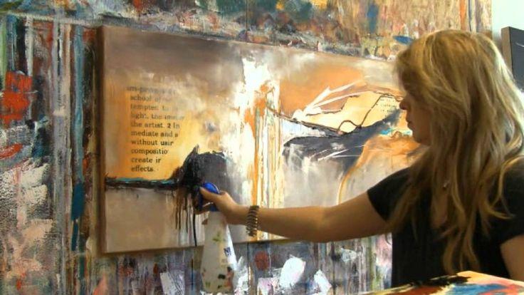 Abstract acrylic painting demo  , Acrylmalen abstrakt  im Großformat