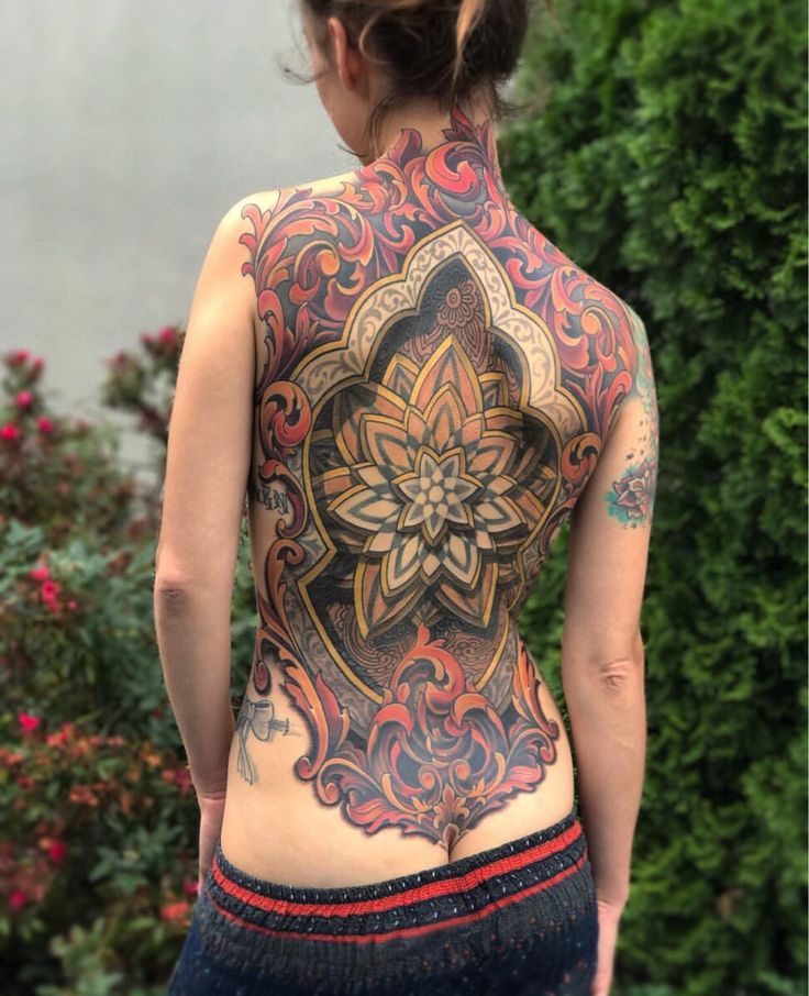 Collab back piece by Russ Abbott and Savannah Colleen, Ink & Dagger Tattoo, Roswell GA